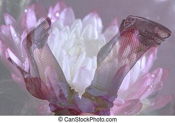 Double exposure female legs