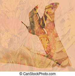 Double exposure female legs