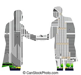 Double exposure handshake businessman on city skyline...
