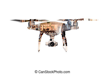 Double exposure. Hovering drone and big old warehouse....