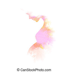 Double exposure illustration. side view of happy mother ...