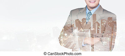 Double exposure image of businessman standing with crossed arms overlay with cityscape image