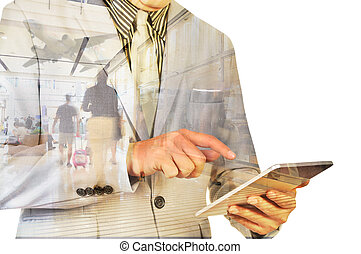 Double Exposure image of Businessman use Digital Tablet and...