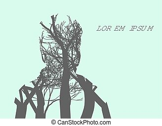 Double exposure Man Silhouette and tree. Double exposure...