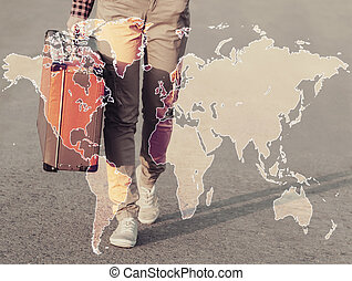 Double exposure map combined with traveler woman - Double...