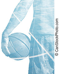 double exposure of a basketball player and field