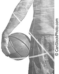 double exposure of a basketball player and field in black and white
