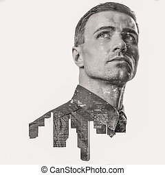 Double exposure of a city and professional businessman...