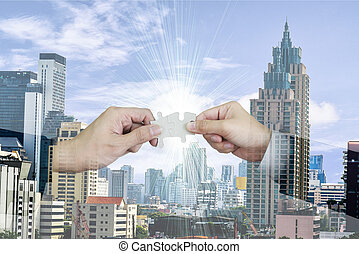 Double exposure of agreement to joint a successful business using jigsaw puzzle concept