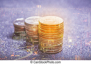 Double exposure of American dollar coins stack with cityscape. use for financial and banking concept