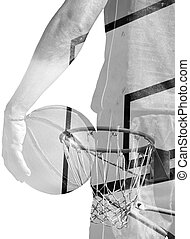 double exposure of basketball player and hoop in black and white