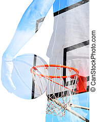 double exposure of basketball player and hoop