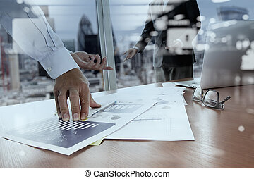 double exposure of business documents on office table with...
