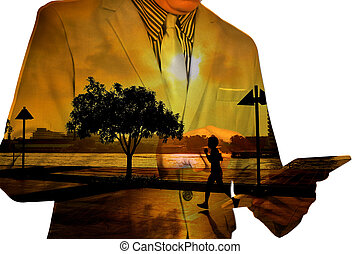 Double Exposure of Business Man Use Mobile Tablet with...