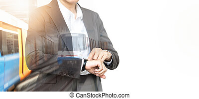 Double exposure of Business people checking time on Sky train background.