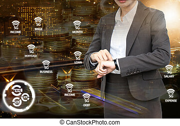 Double exposure of Business woman check the time with 5G network icon background.  Business with technology concept.