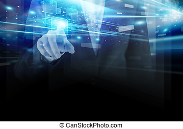 Double exposure of business woman hand touching technology design