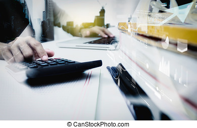 Double exposure of business woman recheck document or planing data for business market target and about accounting staff recheck data before approve document.