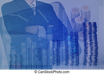Double exposure of businessman arms crossed with stack of coins and calculator on the account book background.