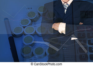 Double exposure of businessman arms crossed with stack of coins as house shape and calculator on the account book background.