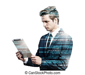 Double exposure of businessman. - Double exposure of young...