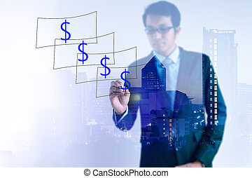 Double exposure of Businessman drawing dollar notes with cityscape.