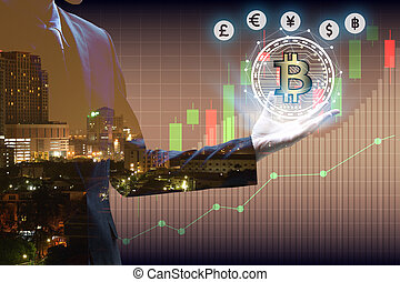 Double exposure of businessman Hand holding bitcoin and virtual currency with cityscape and stock market or financial graph for financial investment concept