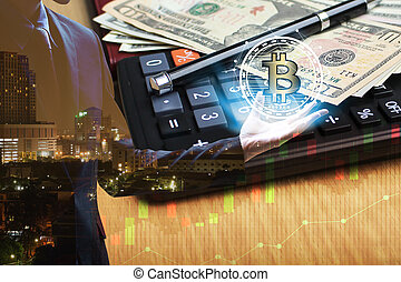 Double exposure of Businessman hand holding interface of bitcoin and Calculator and dollar money with stock market or financial graph for financial investment concept