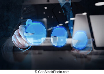 businessman hand touch virtual pie chart