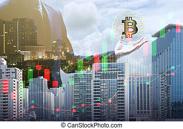 Double exposure of businessman holding the bitcoin and blockchain network connection with cityscape, virtual currency blockchain technology concept