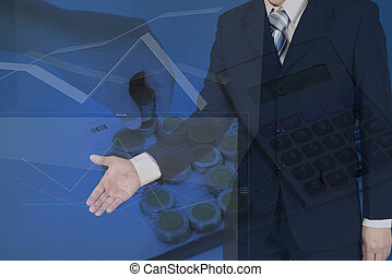 Double exposure of businessman shaking hand with stack of coins as house shape and calculator on the account book background.