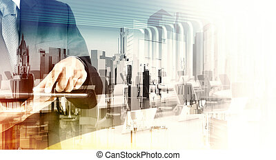 Double exposure of businessman shows modern technology as...