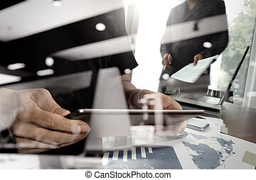 double exposure of businessman shows modern technology with business strategy as concept