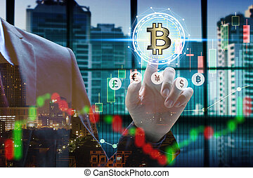 Double exposure of businessman touch virtual bitcoin and blockchain with stock market or financial graph for financial investment concept