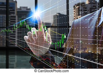 businessman touch virtual currency with stock market
