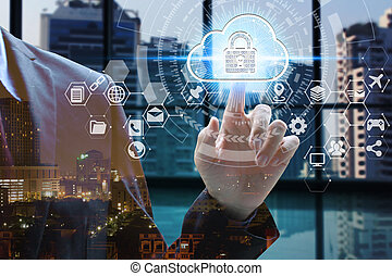 Double exposure of businessman touch virtual icon padlock and cloud with cityscape, Cyber Security Data Protection Business Technology Privacy concept
