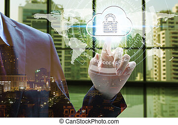 Double exposure of businessman touch virtual map, padlock and cloud with cityscape, Cyber Security Data Protection Business Technology Privacy concept