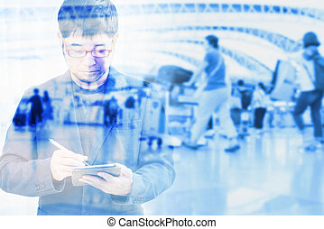 Double exposure of businessman with blur abstract background. use for business background concept
