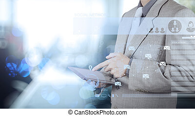 double exposure of businessman working with digital social media
