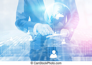 Double exposure of businessman. world map connected, social network, globalization business, social media, networking concept.