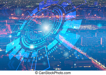 Double exposure of cityscape and business technology graphic design background. Mixed media