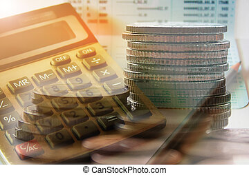 Double exposure of coins with calculator and book bank ...