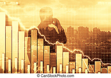 Double exposure of crisis illustration with business graph...