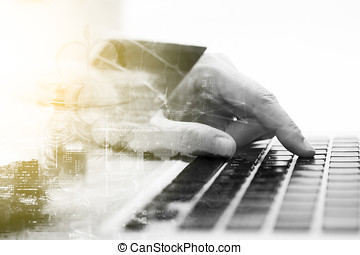 Double exposure of hand holding credit card with hand for payment online shopping, this lifestyle new generation of people on the world for decorate or design business content or finance concept,copy space,mock up.