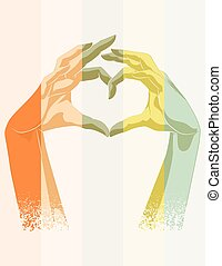 Double exposure of heart symbol - Double exposure of human...