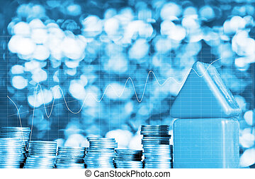 Double exposure of Model house wood form with step of coins stack on table with financial graph chart, real estate investment and saving banking money concept.