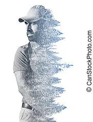 Double exposure of senior golf player