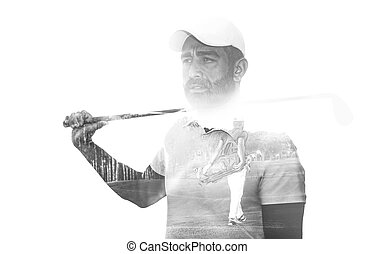 Double exposure of senior golf player