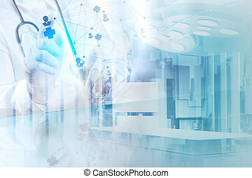 Double exposure of smart medical doctor drawing network with operating room as concept