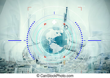 double exposure of smart medical doctor hand showing network with globe as medical network and media concept